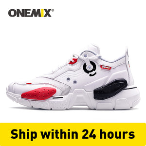 ONEMIX Unisex Sneakers Big Size 2020 New Technology Style Leather Damping Comfortable Men Sports Running Shoes Tennis Dad Shoes - DivaJean