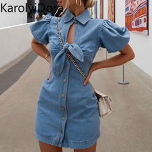 Load image into Gallery viewer, 2020 Hollow out knot tie blue denim dress Elegant puff short sleeve bodycon jeans dress Sexy street wear women summer dress - DivaJean