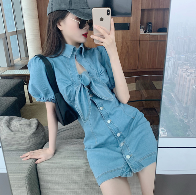 2020 Hollow out knot tie blue denim dress Elegant puff short sleeve bodycon jeans dress Sexy street wear women summer dress - DivaJean