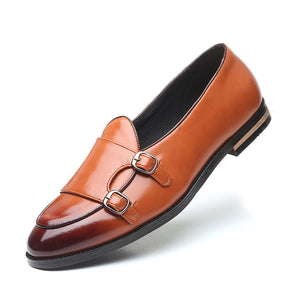 2020 Large Size 48 Men Loafers Classic Business Dress Shoes Fashion Retro Double Buckle Straps Men Shoes Men Leather Men Flats - DivaJean