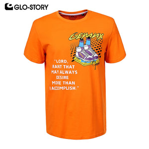 GLO-STORY 2020 New Summer Fashion Shoes Letter Print Men 100% Cotton T-Shirts Short Sleeve O-Neck Streetwear Male Tops MPO-0242 - DivaJean