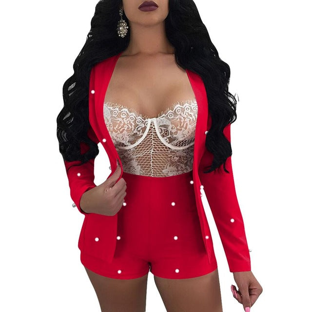 Beaded Long Sleeve Crop Top And Pant Set Sexy Night Club Wear Women Clothing Shorts Suit Set Two Piece Black White Red H3358 - DivaJean