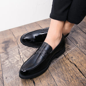 Black Patent leather Men Loafers Exquisite Moccasins slip on Elegant club party Shoes Formal Flats Handmade shoes Casual - DivaJean