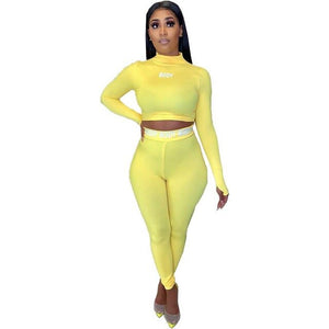 ZOOEFFBB Sexy Letter Print 2 Piece Set Women Club Outfits Long Sleeve Crop Top Pants Sweat Suits Bodycon Tracksuit Matching Sets - DivaJean