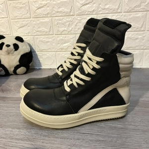 Men Shoes Ankle Luxury Trainers Thick Platform Cow Leather Boots Lace Up Casual Sneaker Zip Flats Lovers High Top Shoes Big Size - DivaJean