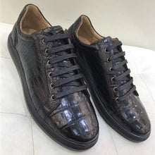 Load image into Gallery viewer, Authentic Real Crocodile Belly Skin Male Casual Vulcanized Sneakers Genuine Alligator Leather Men Lace-up Footwear Flats Shoes - DivaJean