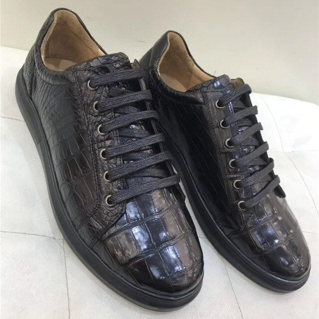 Authentic Real Crocodile Belly Skin Male Casual Vulcanized Sneakers Genuine Alligator Leather Men Lace-up Footwear Flats Shoes - DivaJean