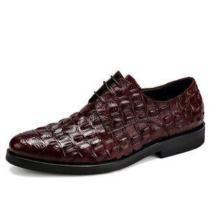 Brand Full Grain Leather Business Men Dress Shoes Retro Crocodile Designer Nature Leather Oxford Shoes For Men Size EU 38-46 - DivaJean