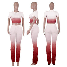Load image into Gallery viewer, Fashion Womne Two Piece Set Gradient Crop Top + Long Pants Pleated With Pocket Tracksuit Women outfits for women - DivaJean