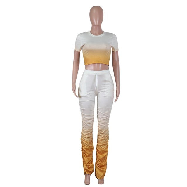 Fashion Womne Two Piece Set Gradient Crop Top + Long Pants Pleated With Pocket Tracksuit Women outfits for women - DivaJean