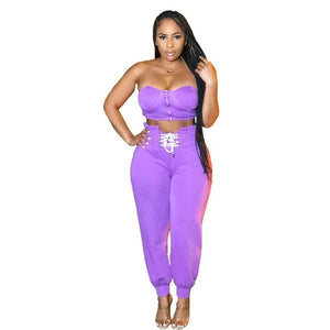 Casual Drawstring Women Set Front Zipper Bandage Off Shoulder Crop Top+Long Pants Strapless Outdoor Cloth For Women - DivaJean