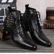 Load image into Gallery viewer, black Bright skin leather mens boots chelsea fashion shoes rivet High quality men's Boots Formal Lace up pointed shoes - DivaJean