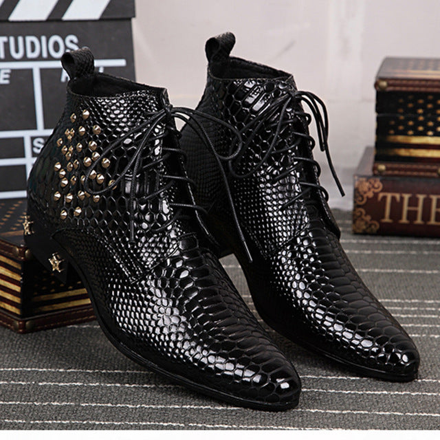 black Bright skin leather mens boots chelsea fashion shoes rivet High quality men's Boots Formal Lace up pointed shoes - DivaJean