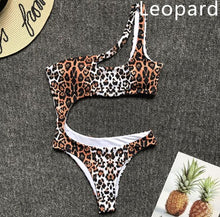 Load image into Gallery viewer, Sexy One Piece Swimsuit Women White Leopard Cut Out Hollow Swimwear Push Up Monokini Bathing Suits Beach Wear Swimming Suit - DivaJean