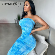 Load image into Gallery viewer, ZHYMIHRET Tie Dye Long Tube Dress Women 2020 Ruched Printed Sexy Trapless Summer Dress Sleeveless Party Night Wear - DivaJean