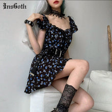 Load image into Gallery viewer, InsGoth Sexy Mini Dresses Flower Ladies Streetwear Casual V-Neck Short Summer Dresses 2020 Harajuku Grunge Short Sleeve Dress - DivaJean