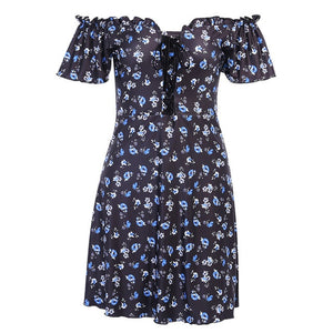 InsGoth Sexy Mini Dresses Flower Ladies Streetwear Casual V-Neck Short Summer Dresses 2020 Harajuku Grunge Short Sleeve Dress - DivaJean