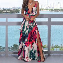 Load image into Gallery viewer, Sexy Women Boho Maxi Print Club Red Purple Yellow Dress Bandage Long Dress Party Bridesmaids Infinity Robe Longue Femme Dress - DivaJean