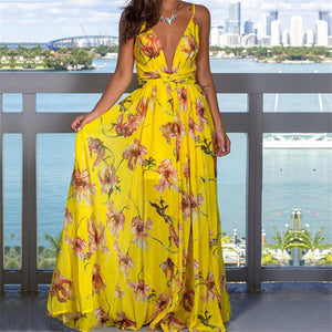 Sexy Women Boho Maxi Print Club Red Purple Yellow Dress Bandage Long Dress Party Bridesmaids Infinity Robe Longue Femme Dress - DivaJean