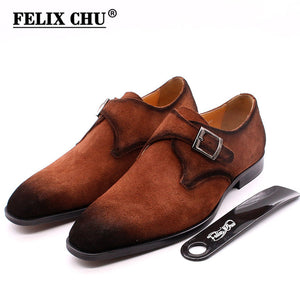2020 Autumn Cow Suede Leather Men Shoes Oxford Brown Casual Classic Monk Buckle Strap Dress Shoes For Male Comfortable Footwear - DivaJean