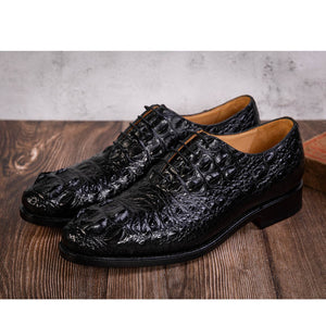 Crocodile Shoes Men Dress 100% Genuine Leather Derby Casual Formal Brand Party Wedding Luxury Men's Oxford Alligator Shoes - DivaJean