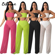 Load image into Gallery viewer, Echoine Summer Sexy Strapless knitted See Through 2 Two Piece Set Women Off Shoulder Crop Top Long Wide Leg Pants Outfits S-XXL - DivaJean