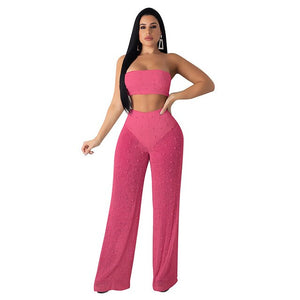 Echoine Summer Sexy Strapless knitted See Through 2 Two Piece Set Women Off Shoulder Crop Top Long Wide Leg Pants Outfits S-XXL - DivaJean