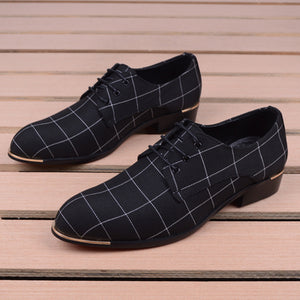 Men Classic Business Shoes Man Dress Shoes Fashion Korea Pointed Toe Lace-Up Formal Wedding Shoes Men Black Lattice 2020 New - DivaJean
