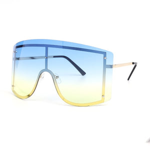 Oversized Women Blue Yellow Gradient Sunglasses Fashion Rimless Metal Female Shades Luxury Brand Designer Personality Eyewear - DivaJean