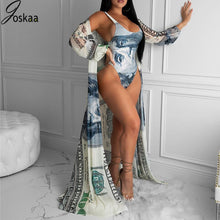 Load image into Gallery viewer, Joskaa Money Print Beach Wear Swimming Suit for Women 2020 Summer Two Piece Set Bathing Suit Sexy Swimwear with Cover Up Set - DivaJean