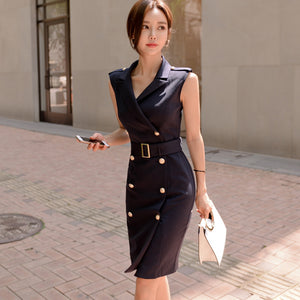 Women Summer Office Lady  Work Wear Slim Vestidos Sleeveless BeltedDouble Button Sexy korean fashion style Dress clothes - DivaJean