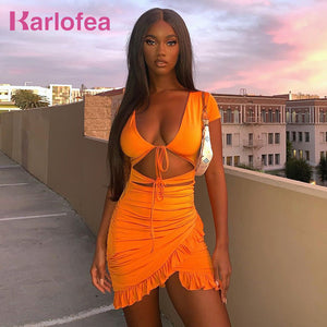 Karlofea New 2020 Summer Orange Everyday Wear Mini Dress Sexy High Cut Hollow Out Lace Up Ruched Wrap Dress Chic Ruffles Outfits - DivaJean
