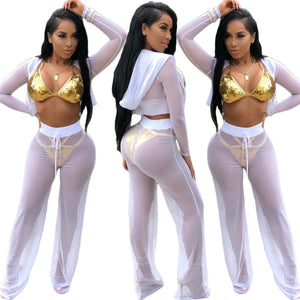 Fashion Casual 2PCS Set Multi-Perspective Mesh Sexy Suit Zipper Cardigan Crop Tops Hooded Neck Long Wide Legs Pants Tracksuits - DivaJean