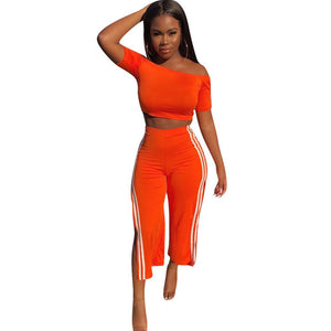 Side Striped Sexy Two Piece Sets Women Slash Neck Off the Shoulder Crop Top + Split Ankle-length Pants Casual Sweat Suit Outfits - DivaJean