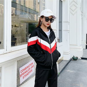 2020 New Autumn Women Two Piece Outfits Sportswear Long Sleeve Casual Korean Red White Stripe Hooded Loose Womens Sweat Suit Set - DivaJean