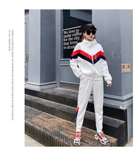 Load image into Gallery viewer, 2020 New Autumn Women Two Piece Outfits Sportswear Long Sleeve Casual Korean Red White Stripe Hooded Loose Womens Sweat Suit Set - DivaJean