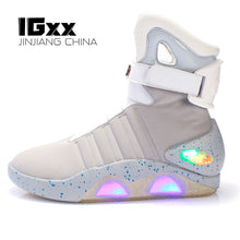 Load image into Gallery viewer, IGxx High Top LED Shoes Light Up For Men LED Sneakers USB Recharging Air Shoes Back To The Future Flashing Shoes Mag LED Grey - DivaJean