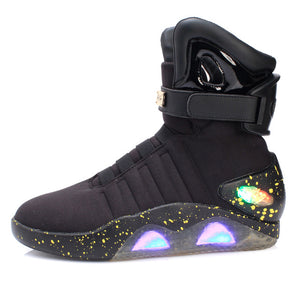 IGxx High Top LED Shoes Light Up For Men LED Sneakers USB Recharging Air Shoes Back To The Future Flashing Shoes Mag LED Grey - DivaJean