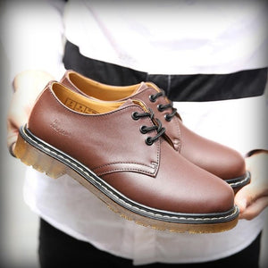 New Men Fashion Ankle Boots Lace-up Chelsea Martens Boots Soulier Homme Wear Resistant Dr-loafers Spilt Leather Shoes Yellowline - DivaJean