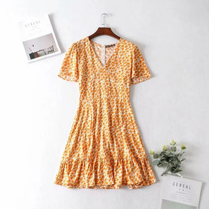 Sexy v neck boho dress women flower print summer dress 2020 new short ruffle dress casual chic holiday mini yellow dress vestido - DivaJean