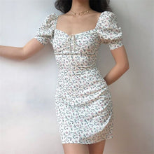Load image into Gallery viewer, Sexy Bodycon Dress Women 2020 Summer Square Collar Floral Mini Dress Short Club Wear Party Dresses  Vestidos - DivaJean