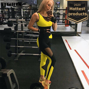 Women's Sexy Backless Mesh Stitching Yoga Jumpsuit Sweat Pants Body Trend Running Sports Riding Gym Clothing Tracksuit - DivaJean