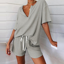 Load image into Gallery viewer, Sexy Off Shoulder Tops And Striped Shorts Suits Spring Summer Women Two Piece Sets Causal Printed Tracksuit Sportswear Outfit XL - DivaJean