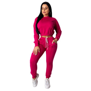 Echoine Autumn Winter Women Tracksuit 2 Piece Set Crop Top pants Set Sportwear Matching Set Workout sweat suits women jogging - DivaJean