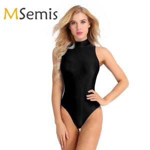 Women's Swimsuit Gymnastics Leotard Swimwear Round Neck Stretch Dance Costume Leotard Yoga Bodysuit Beach Bathing Suit Swimwear - DivaJean