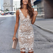 Load image into Gallery viewer, Ordifree 2020 Summer Women Sleeveless Party Dress Club Wear Sexy Bodycon Sequin Pencil Dress - DivaJean