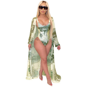 Joskaa Money Print Beach Wear Swimming Suit for Women 2020 Summer Two Piece Set Bathing Suit Sexy Swimwear with Cover Up Set - DivaJean