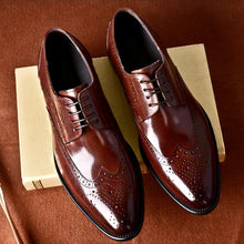 Load image into Gallery viewer, Phenkang mens formal shoes genuine leather oxford shoes for men black 2020 dress shoes wedding shoes laces leather brogues - DivaJean