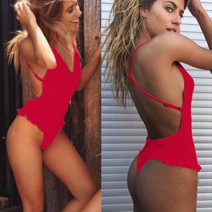 Morematch Sexy Swimwear Push Up One Piece Ruffle Bathing Suit Female Bodysuit Backless Monokini Brazilian Swimsuit For Women - DivaJean