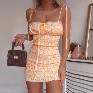 Waatfaak Ruched Slash Neck Floral Print Dress Women Vacation Mini Dresses Yellow Sundres Sexy Spaghetti Bodycon Dress Ladies - DivaJean